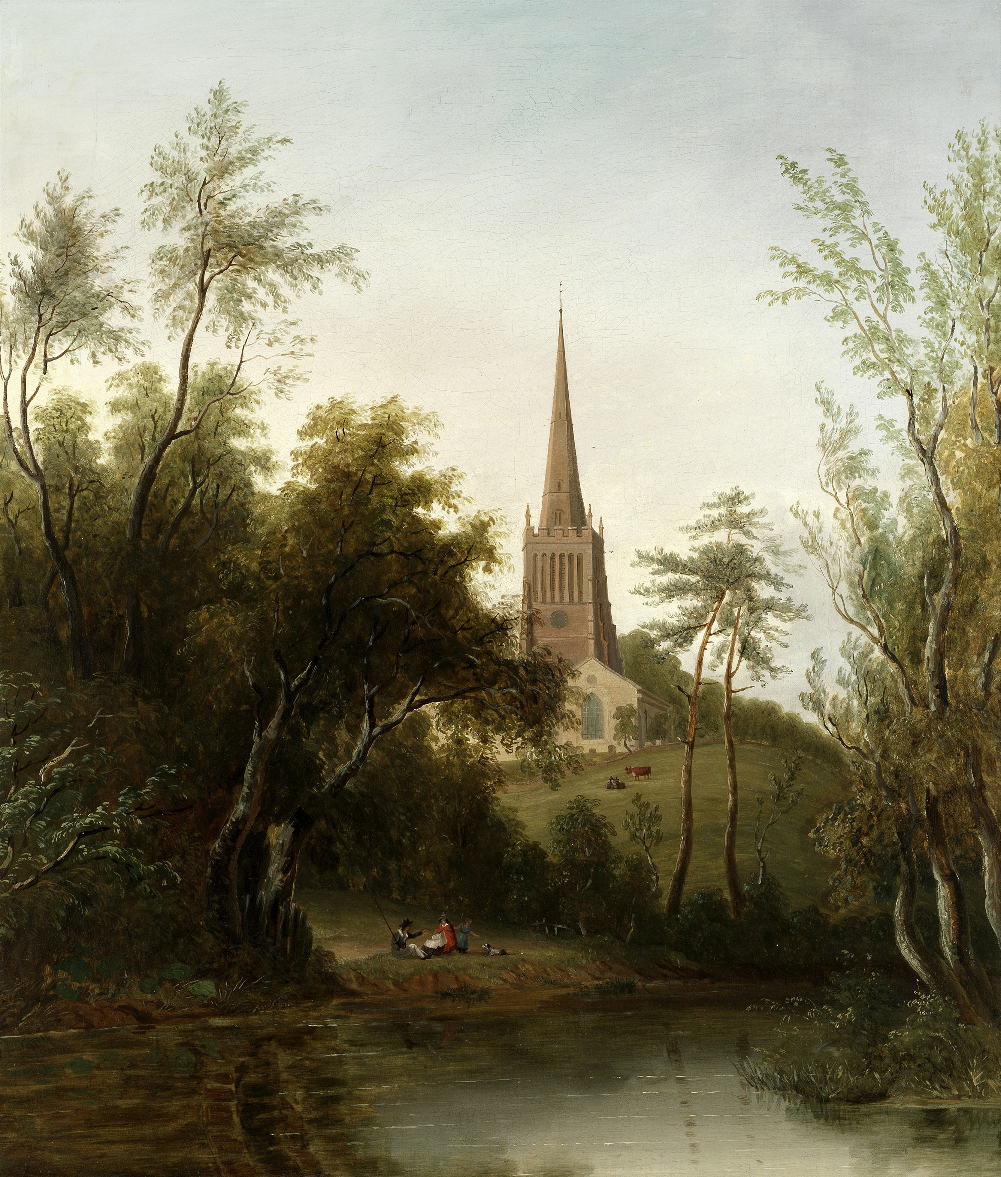 Circle of Sarah Ferneley (British, 1812-1903) Figures by a pond, a church beyond
