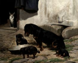 Simon Ludvig Ditlev Simonsen (Danish, 1841-1928) A dachshund family in the yard, watched over by ...