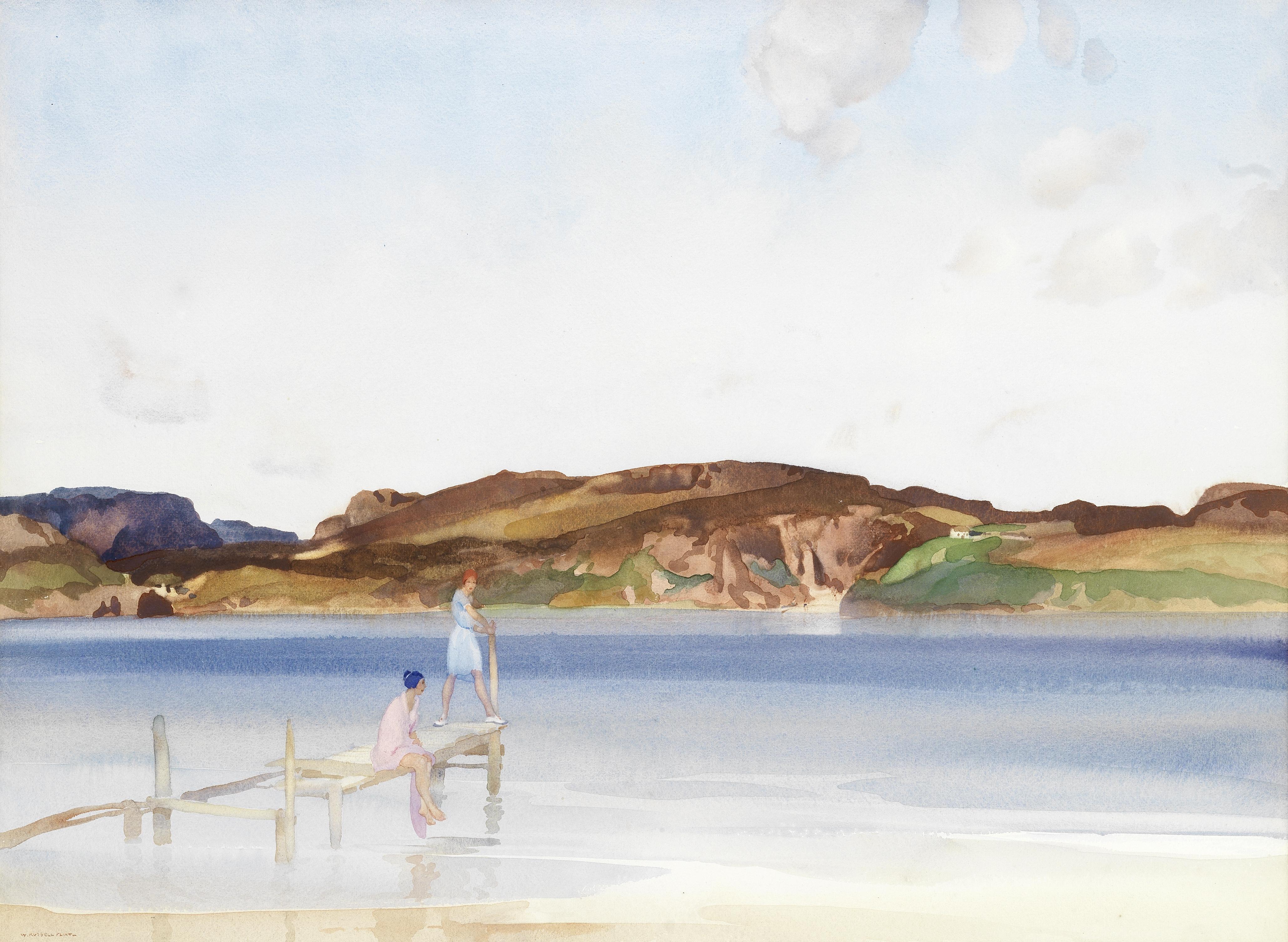 Sir William Russell Flint R.A., P.R.W.S. (1880-1969) 'The beach across the sound'