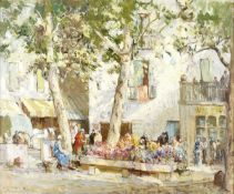 William Lee Hankey RWS, RI, ROI, RE (British, 1869-1952) The flower market, Menton