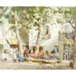 William Lee Hankey RWS, RI, ROI, RE (British, 1869-1952) The flower market, Menton