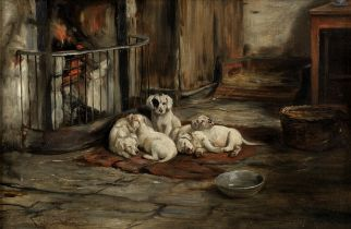 Joseph Denovan Adam RSA RSW (British, 1842-1896) By the fire