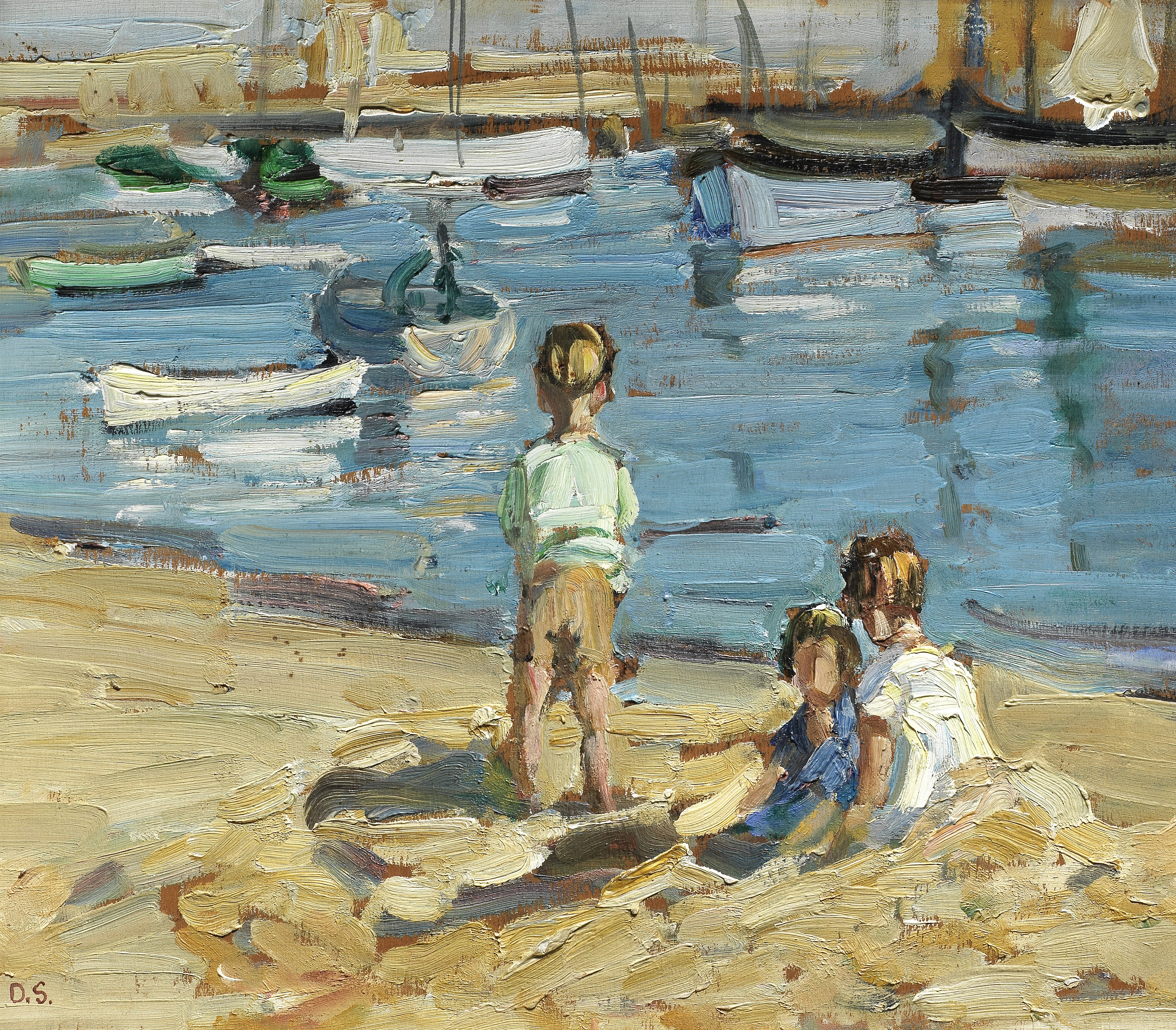 Dorothea Sharp, RBA, ROI (British, 1874-1955) Children playing by a harbour