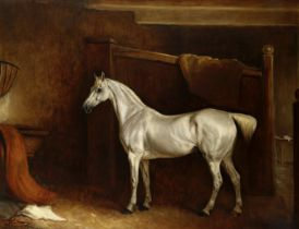 John Ferneley Senior (Thrussington 1782-1860 Melton Mowbray) Portrait of a grey in a stable interior
