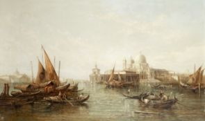 Alfred Pollentine (British, 1836-1890) A busy venetian waterway