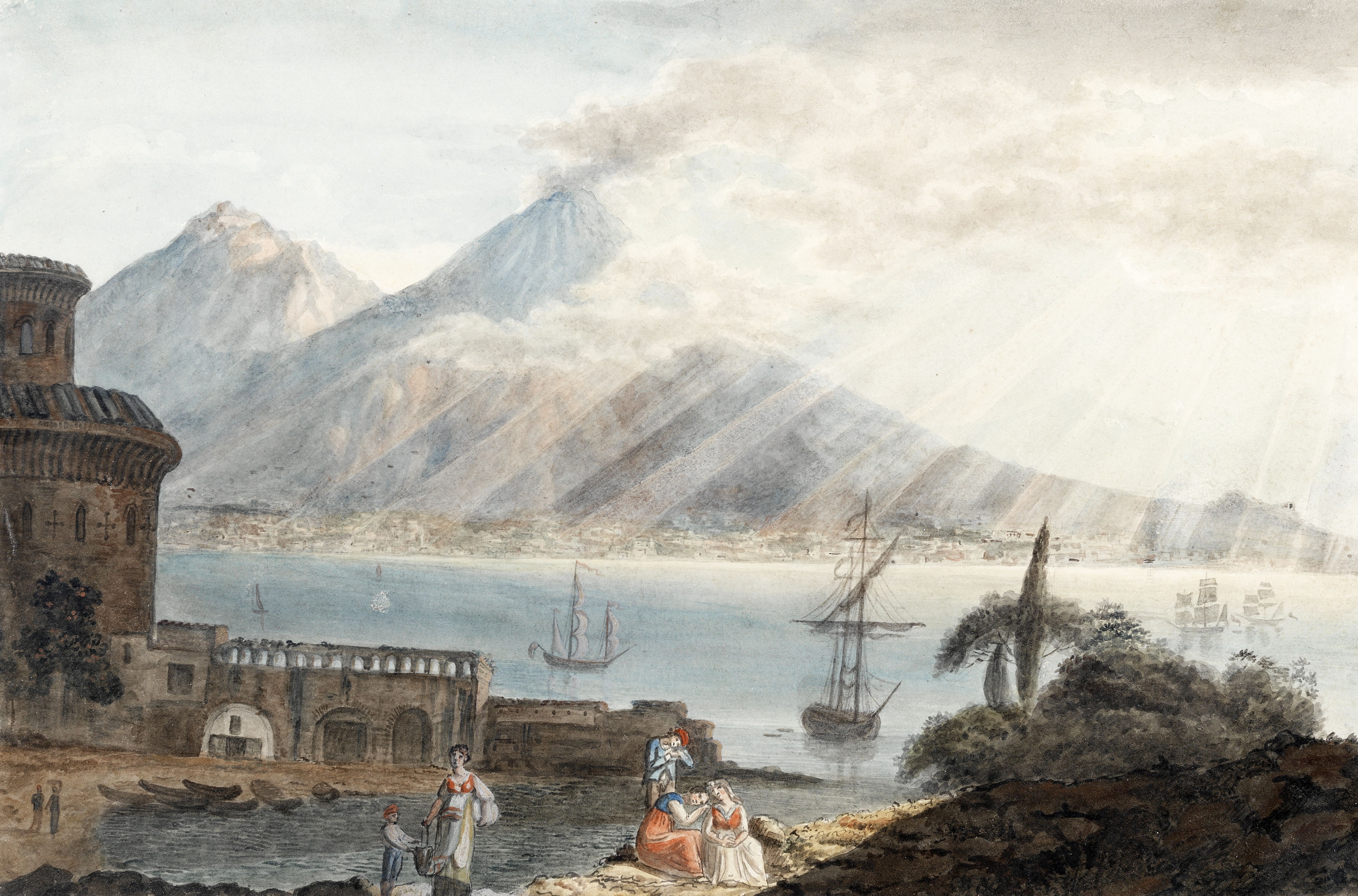 Harriet Cheney (British, 1771-1848) The sun breaking through clouds over the Bay of Naples; Figur...