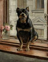 Alexander Pock (Austrian, 1871-1950) Rottweiler on a windowsill