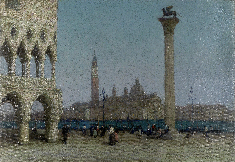Terrick John Williams, RA (British, 1860-1936) The Piazzetta at twilight unframed