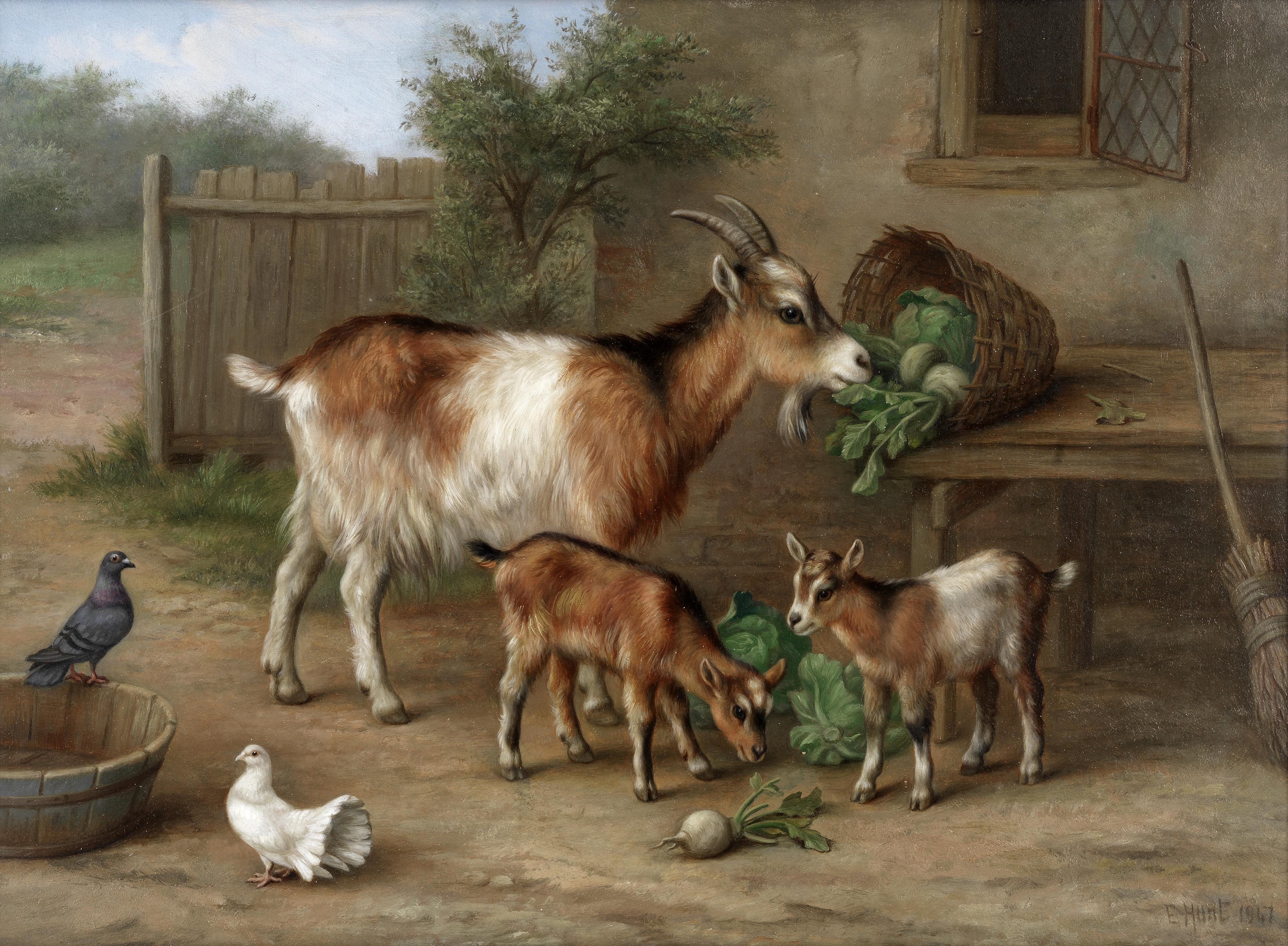 Edgar Hunt (British, 1876-1953) Kids eating their greens