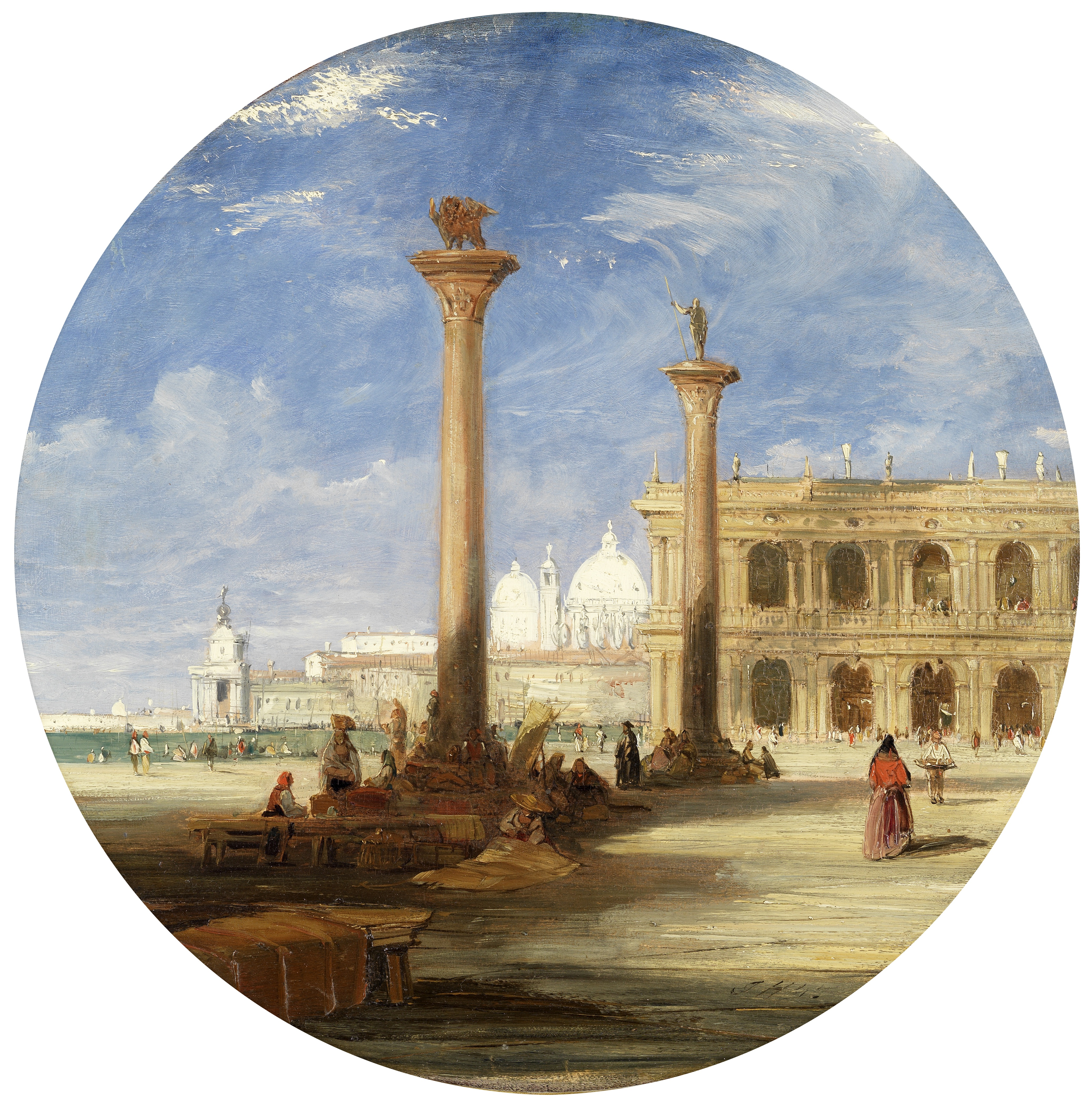 James Holland, RWS (British, 1799-1870) The Dogana from the Piazzetta, Venice tondo 43.3cm (17in...