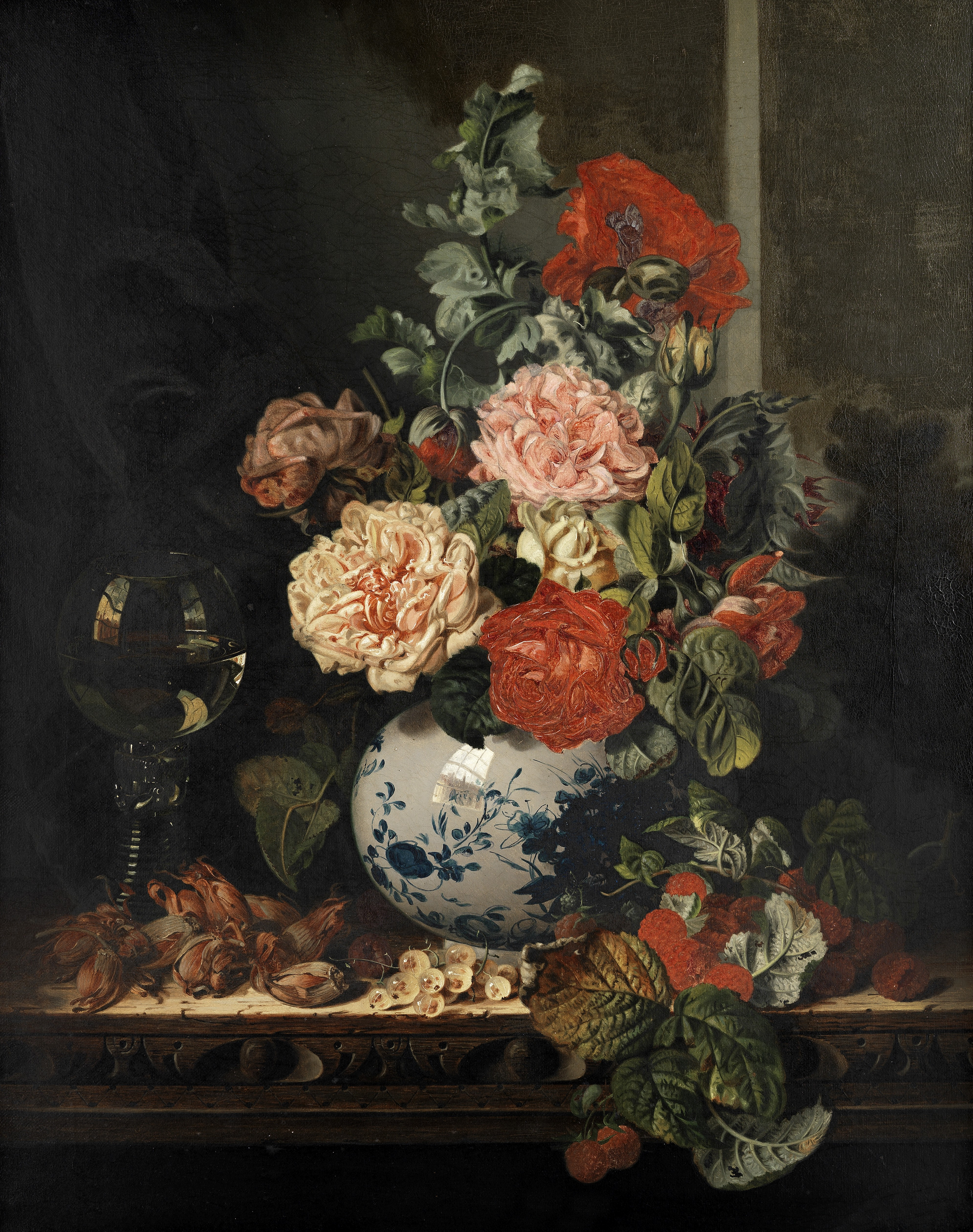 Attributed to Edward Ladell (British, 1821-1886) Still life of roses on a wooden ledge with raspb...