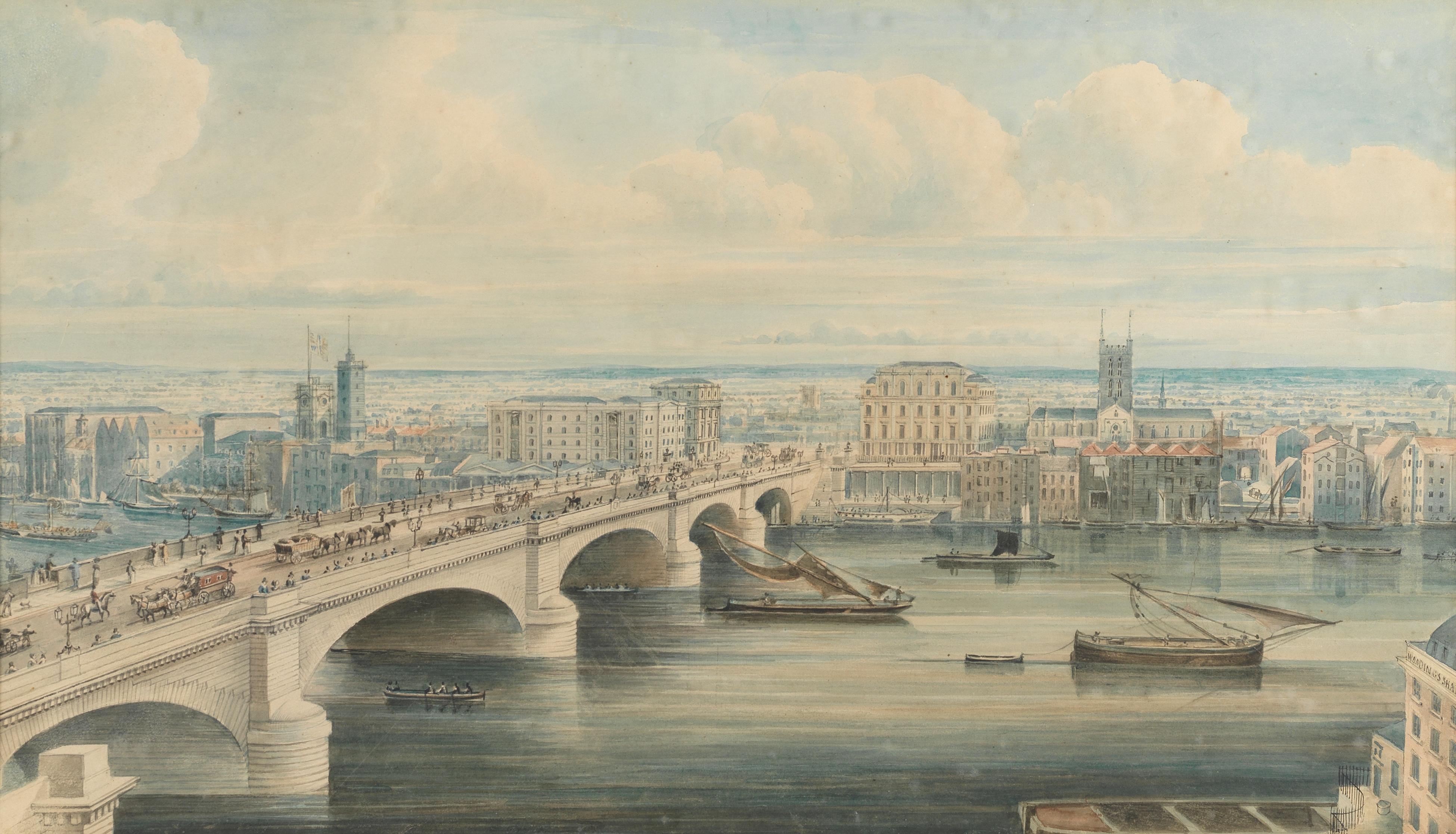 Attributed to Gideon Yates (British, 1790-1837) London Bridge and Southwark from Fishmongers' Hall
