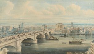 Attributed to Gideon Yates (British, 1790-1837) London Bridge and Southwark from Fishmongers' Hall