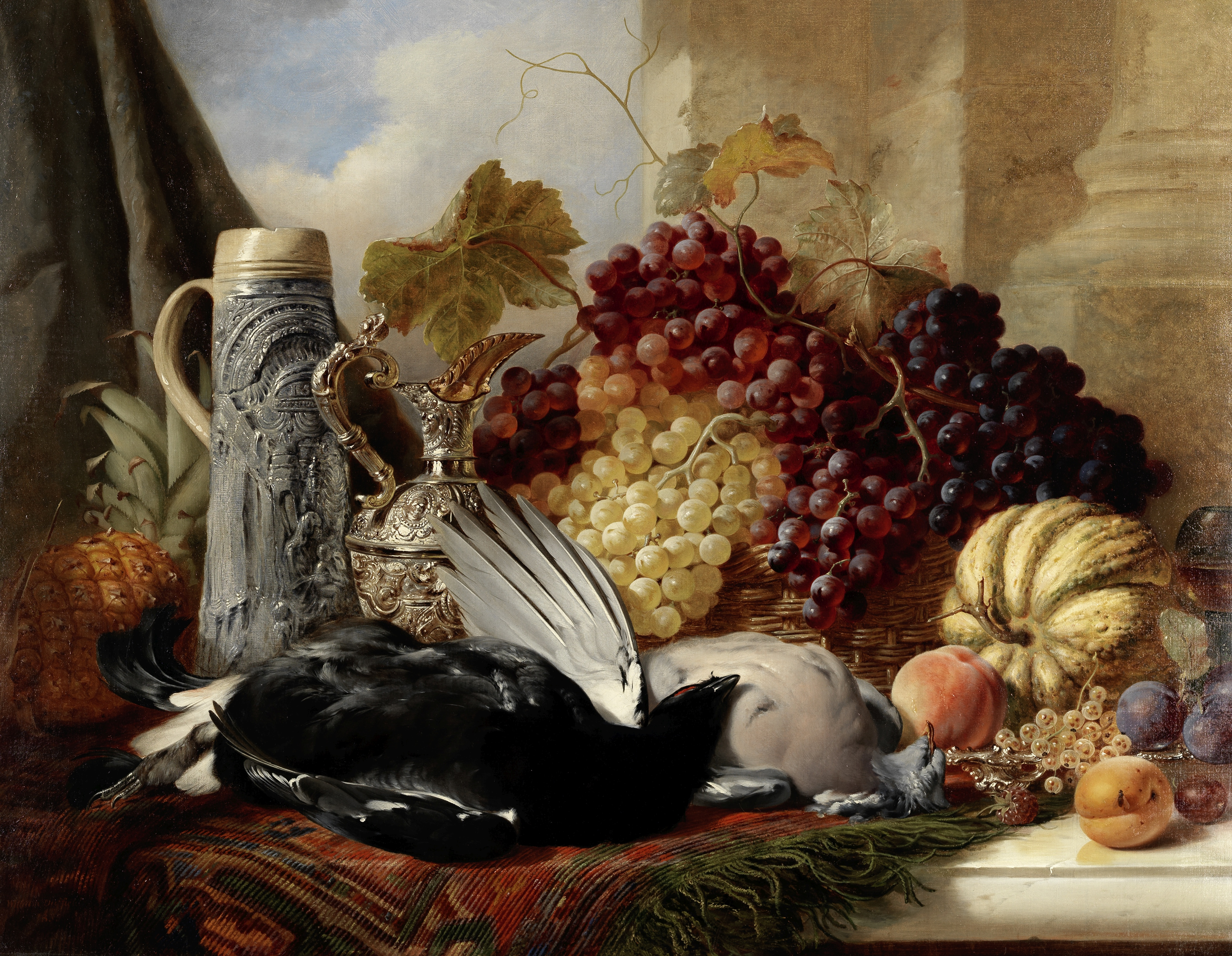 William Duffield (British, 1816-1863) Still life of fruit and game with a claret jug and stein