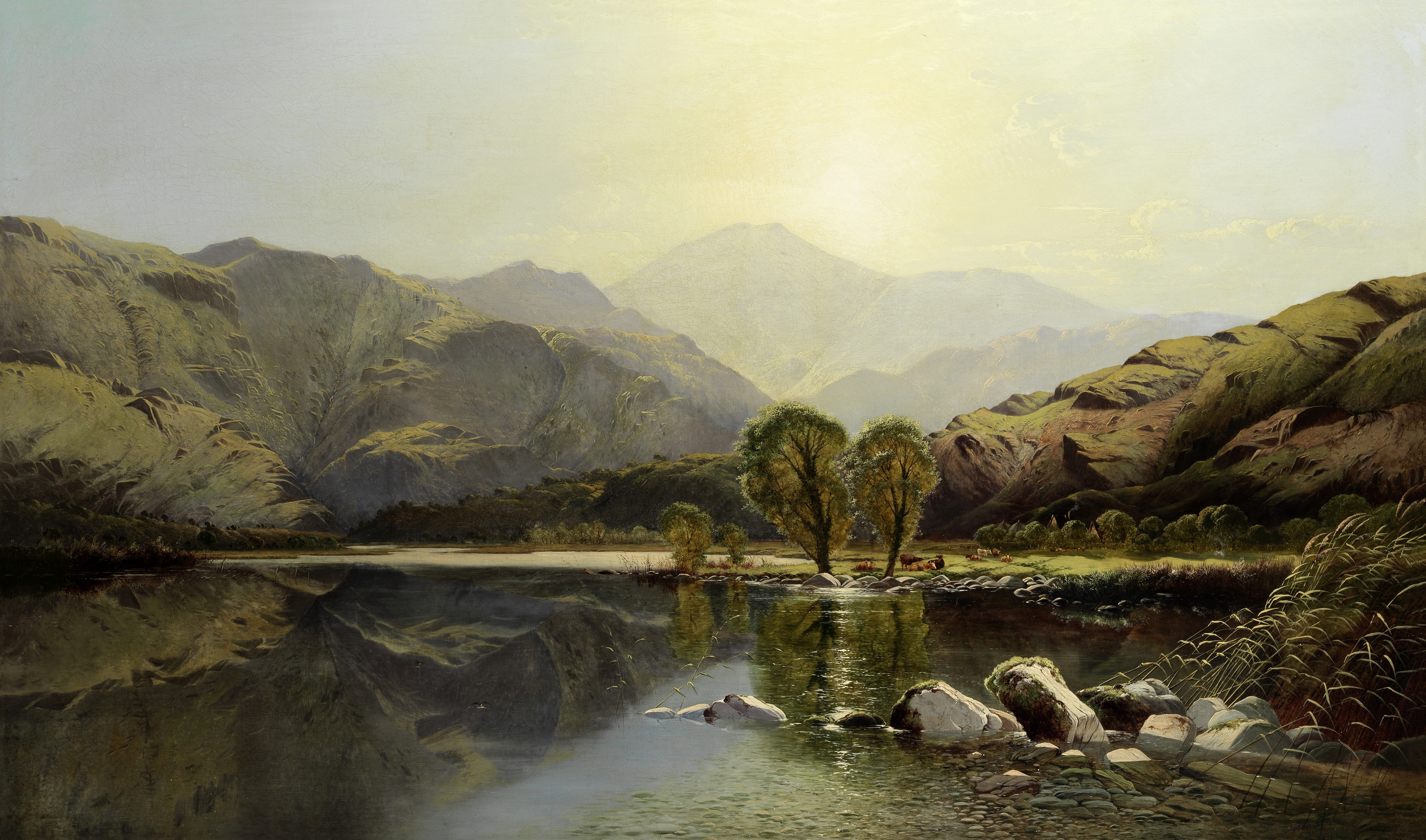 Edwin Henry Boddington (British, 1836-circa 1905) Mountains at midday, with cattle resting by a r...