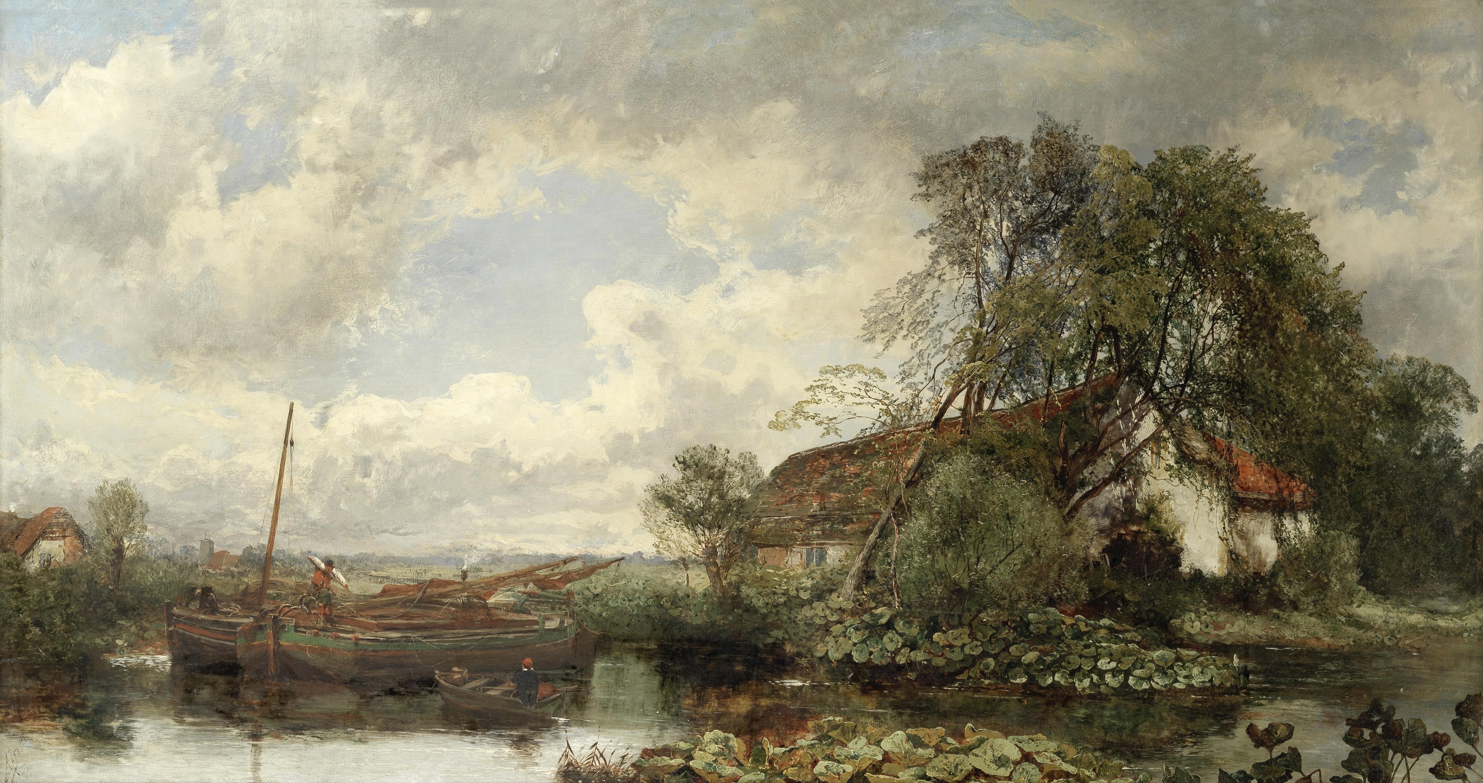 Alexander Fraser Jnr RSA RSW (British, circa 1828-1899) Landscape with barges moored at a riversi...