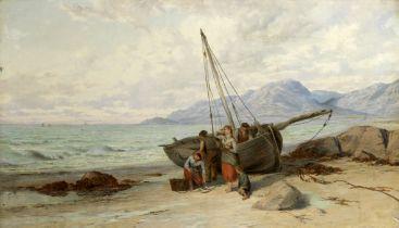 John Brett, ARA (British, 1831-1902) Fisherfolk on the shore unloading their catch