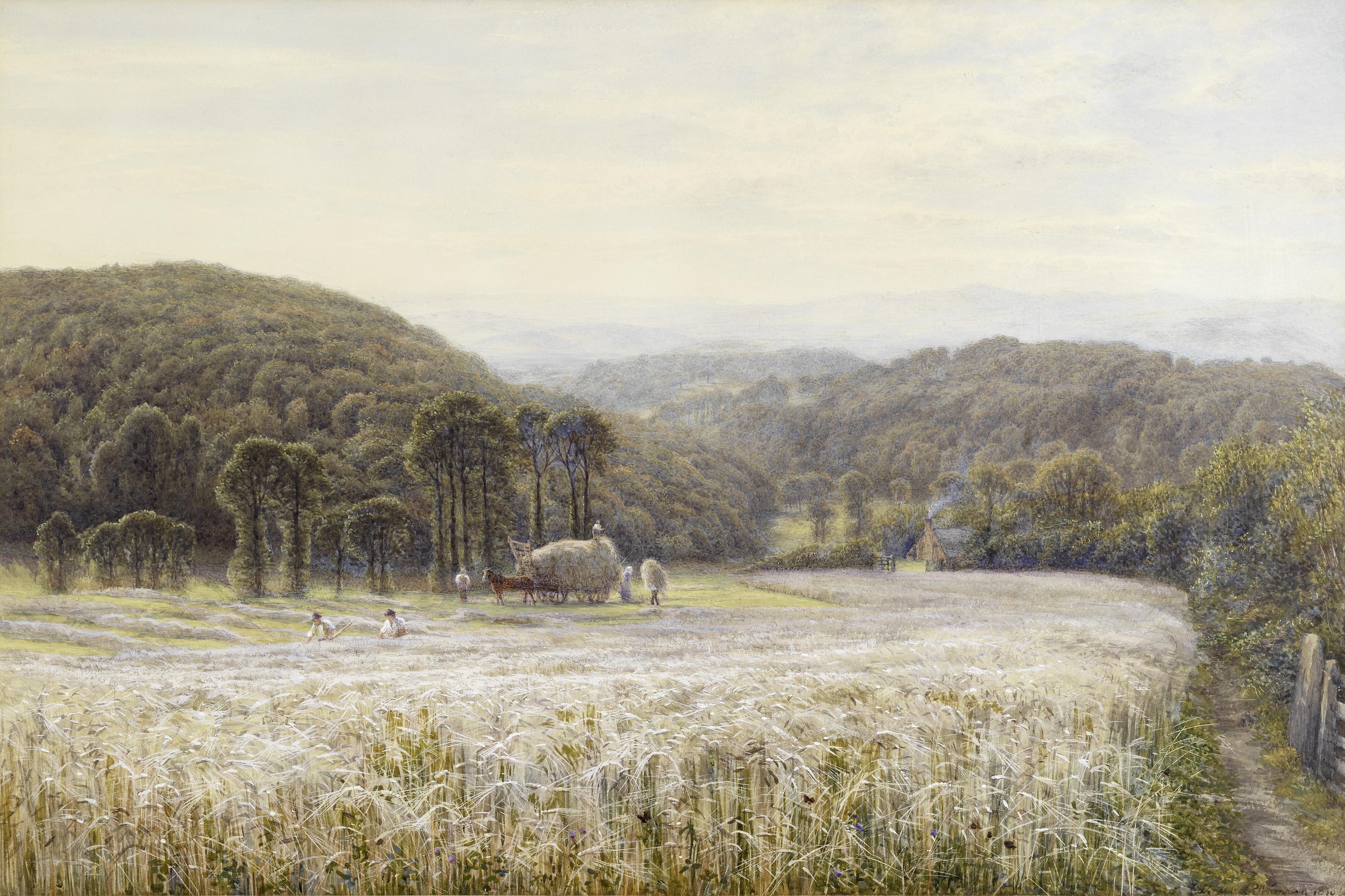 Edmund George Warren (British, 1834-1909) Cutting hay