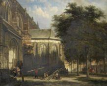 Cornelis Springer (Dutch, 1817-1891) The entrance to St. Martin's Church at the Balveren Chapel, ...