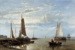 Abraham Hulk (Dutch, 1813-1897) On the Scheldt, low tide; On the Scheldt, sunset each 20.5 x 30.5...