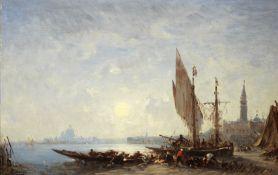 Félix François Georges Philibert Ziem (French, 1821-1911) Pêcheurs et leur filets,...