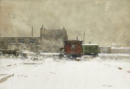 Luigi Loir (French, 1845-1916) Roulottes sous la Neige