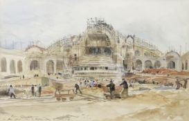 Eugene Alexis Girardet (French, 1853-1907) The Construction of the Grand Palais, Paris. 30 March ...