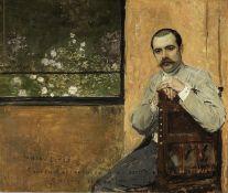 Jan van Beers (Belgian, 1852-1927) Portrait of a man seated by a window