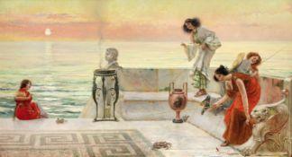 Emilio Vasarri (Italian, 1862-1931) Chasing crabs