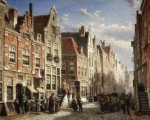 Willem Koekkoek (Dutch, 1839-1895) A busy street scene