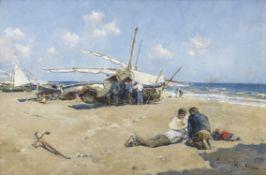 Arcadi Mas y Fondevila (Spanish, 1852-1934) Fisherfolk on beach