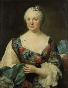 French School, mid 18th Century Portrait of a lady, half-length, in a flowered dress