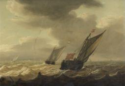 Dutch School, 18th Century Shipping on a stormy sea