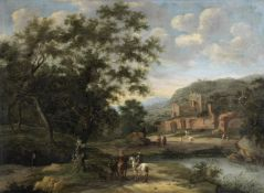 Attributed to Frederick de Moucheron (undefined, Emden 1633-1686 Amsterdam) A river landscape wit...