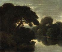 Follower of Adam Elsheimer (Frankfurt am Main 1578-1610 Rome) A river landscape at dusk