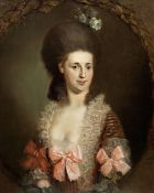 Johann Ernst Heinsius (Thuringia 1740-1812 Erfurt) Portrait of a lady, half-length, in a pink dre...