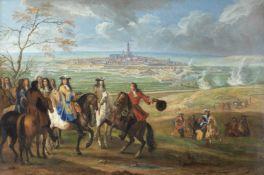 Circle of Adam Frans van der Meulen (Brussels 1632-1690 Paris) King Louis XIV before a besieged city