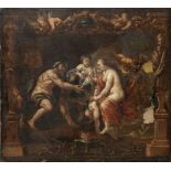 Manner of Sir Peter Paul Rubens, 18th Century Thetis receiving the arms of Achilles from Vulcan ...