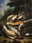 Giacomo Nani (Port'Ercole 1698-1770 Naples) A hawk attacking a hare; Dead game in a landscape; A ...