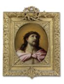 French School, 17th Century Christ as the Man of Sorrows in a carved and gilt frame