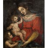 Follower of Lorenzo Lippi (Florence 1606-1665) The Madonna and Child with the Infant Saint John t...