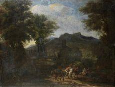Circle of Jakob de Heusch (Utrecht 1657-1701 Amsterdam) A mountainous landscape with travellers o...