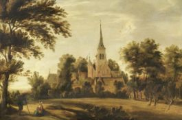 Dutch School, 17th century A wooded landscape with figures before a church