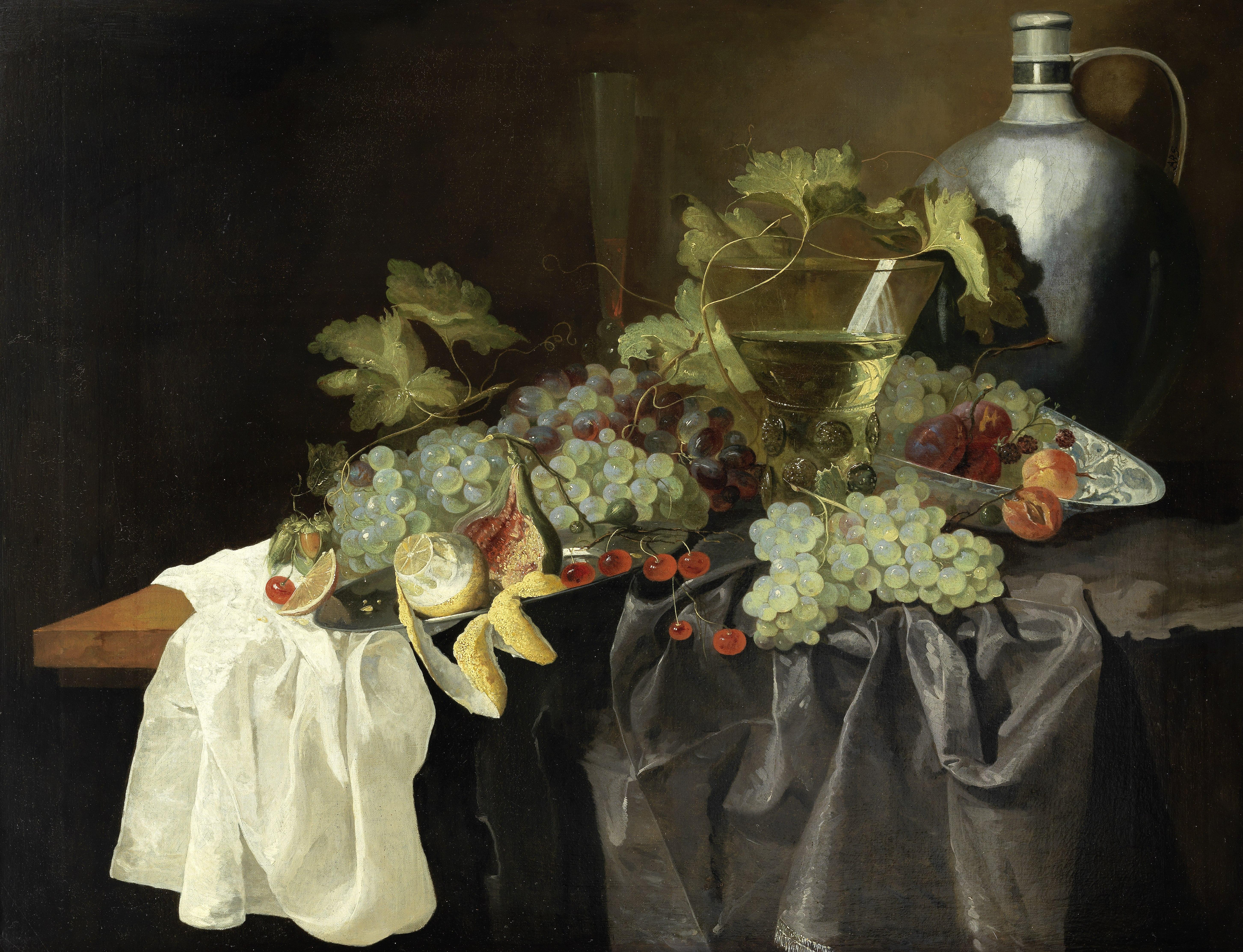 Manner of Abraham Hendricksz. van Beyeren, 19th Century Grapes, lemons and other fruit on a drape...