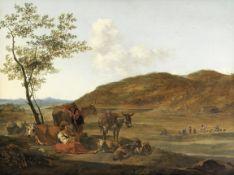 Gerrit Adriaensz. Berckheyde (Haarlem 1638-1698) Peasants resting with their animals in an Italia...