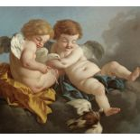 Jean Jacques Lagrenee the Younger (Paris 1739-1821) Two putti with doves amongst clouds