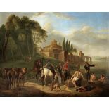 Manner of Philips Wouwerman, 18th Century Figures bathing before a town