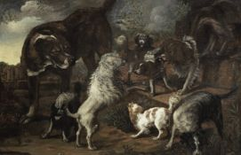 Attributed to Jacques Grief de Claeuw (Dordrecht 1620-circa 1676 ?) Spaniels and other dogs in a ...