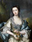 Frans van der Myn (Dusseldorf 1719-1783 London) Portrait of a lady, three-quarter-length, in a gr...