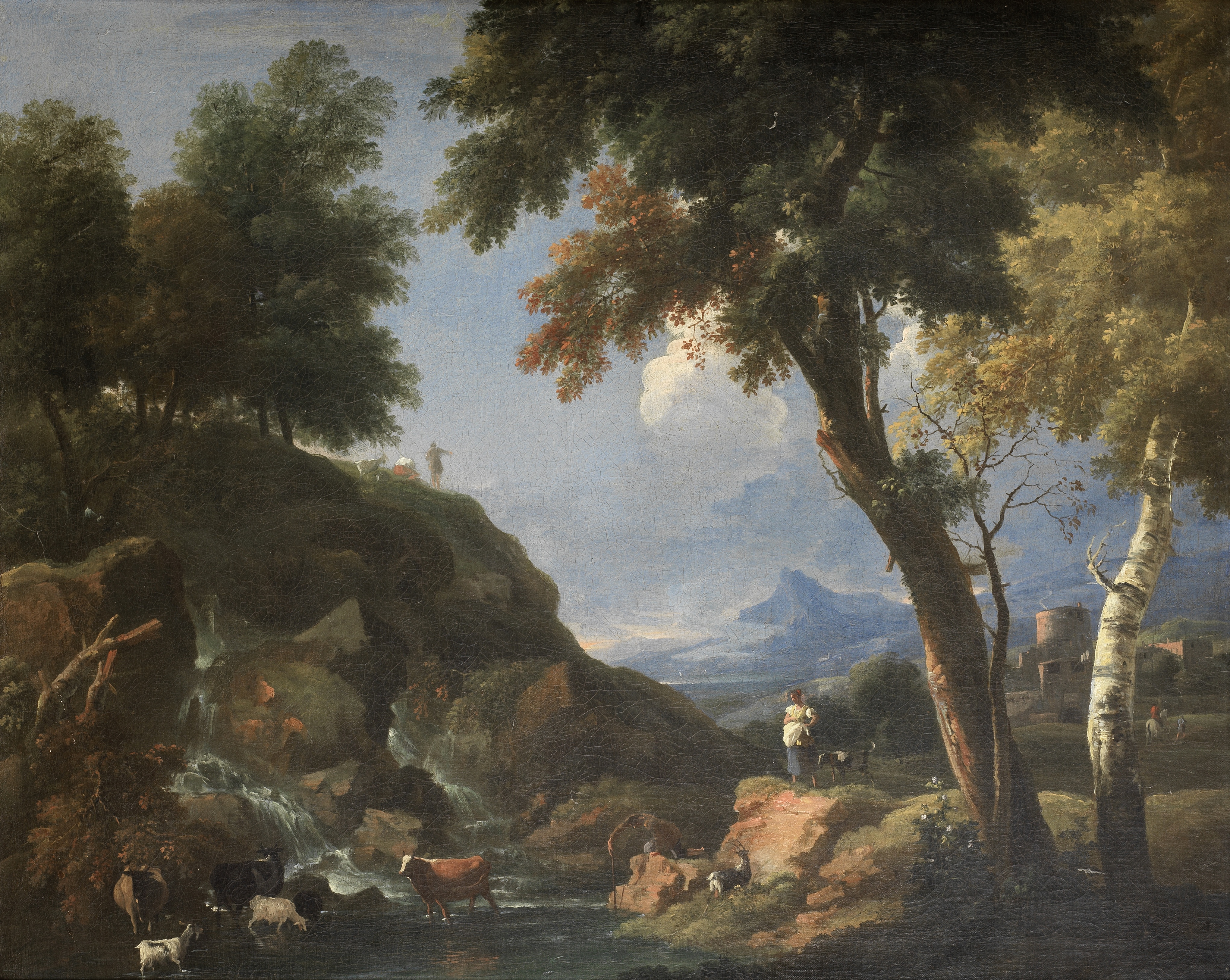 Attributed to Marco Ricci (Belluno 1676-1729 Venice) A wooded river landscape with herders and th...